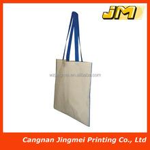 OEM plain cotton canvas tote bag with long handle
