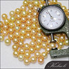 Gold 9-10 mm real freshwater round price of yellow pearl