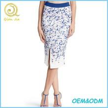 Wholesale Elegant Design Floral Printed Special Cutting Tight Midi Skirt