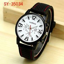 silicone strap men dual time wrist watch japanese movement gold watch SY-SIL