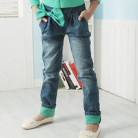 2015 fall winter latest girls stylish jeans brand name with green bow