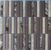15x98 multi color pattern marble mix stainless steel mosaic tile