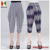 new fashion summer printed loose harem pants for women, ladies 3/4 long harem pants