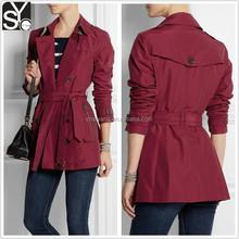 2015 autumn/winter woman long sleeve stylish trench coat women SYA15058