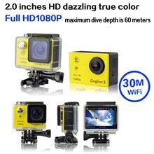 "2015 Hot 2.0"" LCD FULL HD 1080P 173 Degree Wide Angle Waterproof WIFI 30M Go Pro Style Yellow Gogloo5FPV Helmet Sport Camera"