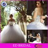 CE1077 Gergeous Sheer long Sleeves Heavy Beaded Bridal Gown Wedding Dresses 2015