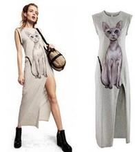 Z74362A Fashion European Style Cat Appliqued Women Dress