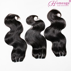 Homeage real human virgin hair closure malaysian and weave body wave natural looking many in stock