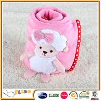 Famous Brand in cooperation fleece applique embroidery baby blanket flannel blanket