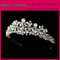 Factory Wholesale Wedding Elegant Luxury jewelry headpieces tiara with full pearlcrystal for bridal flower crystal headpiece