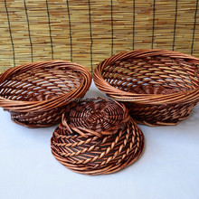 Handwoven protection saving custom folk storage food wholesale container set of 3 pcs fruit bread basket