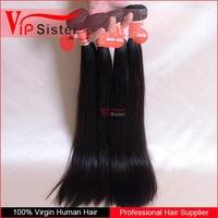 No acid bath no silicone mix 100% human brazilian hair weft straight hair