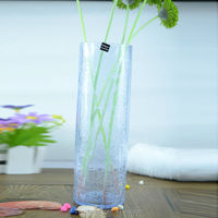 beautiful cylinder crackled glass vase