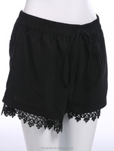 2015 Summer plain black lace pockets on the back casual compression women shorts, girls lace shorts