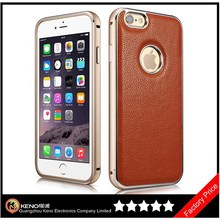 Keno Leather Case Ultra Slim Skin Cover Case Premium Aluminum Bumper Frame Business Back Cover Case for iPhone6 4.7 Inch