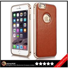 Keno Leather Case Ultra Slim Skin Cover Case Premium Aluminum Bumper Frame Business Back Cover Case for iPhone6 4.7 Inch