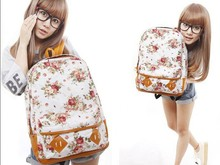 New Arrivals Hot sale Floral Printed Canvas Backpack College New Fashion Girls' School Bag Flowers Women Rucksack Free Shipping