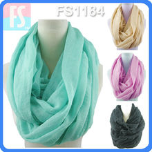 100 viscose plain scarf infinity Wrinkled design