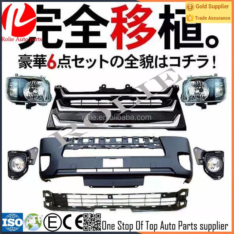 Toyota hiace 200 2014 rosto black chrome bumper corpo de luz dianteira do carro conjunto kit