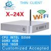 hot selling no noise mini industrial pc x-24x thin client D2500 network fan mini desktop 4g ram 16g ssd support wifi