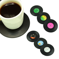 Fashion Design Table Cup Mat Creative Decor Coffee Drink Placemat Spinning Retro Vinyl CD Record Drinks Coasters 6pcs/set