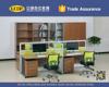 Workstation for 4 Persons steel legs wooden desk top modern office desk