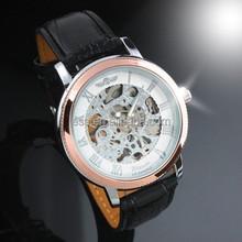 ESS Men's Black Leather Rose Golden Case Skeleton Hand-Wind Up Mechanical Watch WM203