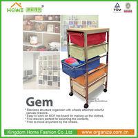 Five canvas drawers metal rack storage organizer with wheels