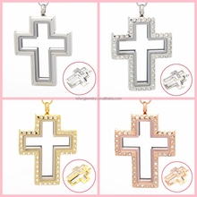 Hot sale stainless steel silver magnetic glass floating charms cross locket pendant, floating charm locket necklace