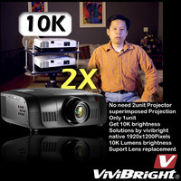 vivibright PRWU8600 10000 ansi lumens outdoor window display, advertising daylight data show projector