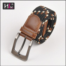 """2015 new arrival 1-1/3"""" braided stretch belt to flatten with Brown leatherr Tabs"""