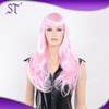 hot sale cheap synthetic european design long pink cosplay wigs