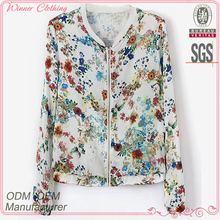 direct factory good quality flora printed ladies jeans top design