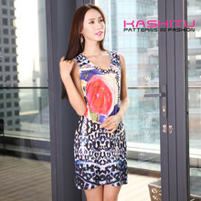all over print ladies dresses sleeveless dress women casual one piece dress in floral print