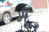 ZJMOTO Unique Low Profile Shorty Helmet Black/Matte Black Flat Adult Motorcycle Half Helmet