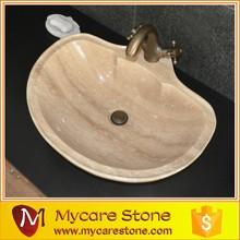 Natural luxury beige travertine wash basin