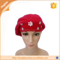 Fashion Women's Winter Warm Cute Flower Decoration Rabbit Fur hat