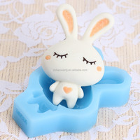 Cute Cartoon Animal Rabbit Shape Silicone Molds for Baby Chocolate Clay DIY Fondant Molds