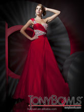 new flowing chiffon beaded one shoulder red sex prom dress
