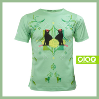 Black cat design with coolmax fabric - woman t-shirt full front printing