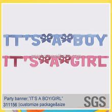 Baby shower supplies it's a boy & it's a girl foil letter banner