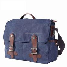 Navy Blue vintage Canvas real leather laptop men briefcase messenger bag