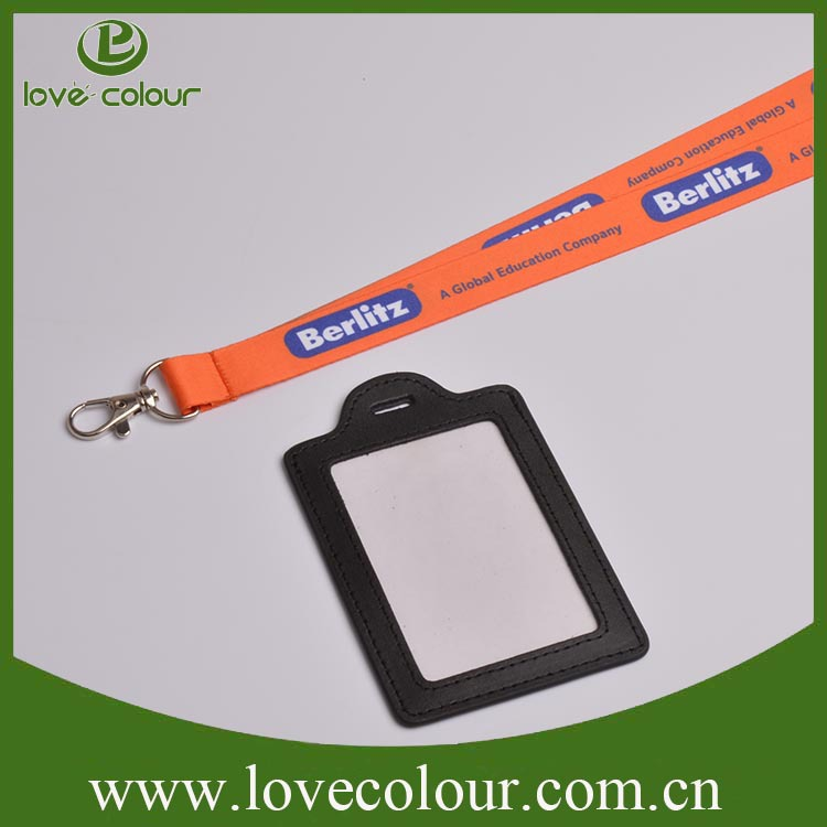 Custom Long Neck Strap Lanyard With Business Leather Id Card Holder ...