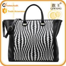 Designer fashion top handle bag ladies elegant knit leather tote bag handbags with strap