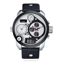 leather bracelet digital analogue sport watches men, waterproof double movement man's sports watch