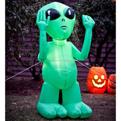 2015 Hot sale giant inflatable LED alien, inflatable green alien for advertising
