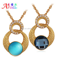 wholesale has spot new fashion styles round shape different kinds of color Lucky stone & rhinestone gold pendant necklace