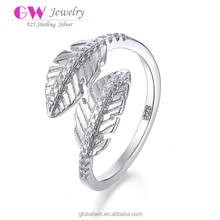 Fashion Exquisite Women's Finger Ring,Trendy Romantic Leaf Rings Jewelry,Fashion Silver Cheap Leaf Style Engagement Rings