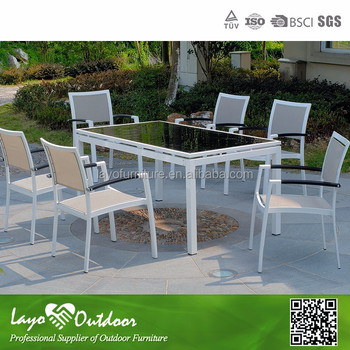 S10007 outdoor furniture sling table sets marble outdoor for Outdoor furniture big w