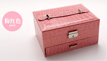 High Grade Leather Jewelry Boxes Necklace Holder Organizer Comestics Bags Multilayer Big Capacity Storage Box Makeup Train Cases